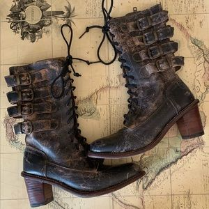 Rare Bed Stu Fiona Distressed Buckle Boot Size 7